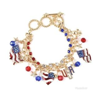 Blue and Red Beads, Multi Color Crystal Bracelet